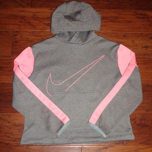 NEW Girl's SIZE MED Gray & Pink Nike Dri Hoodie